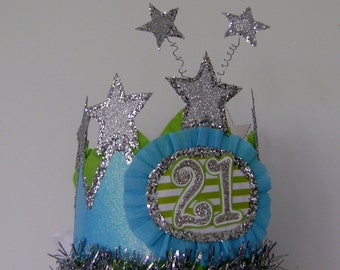 21st Birthday Party hat, 21st birthday Crown, 21st birthday, customize with any number
