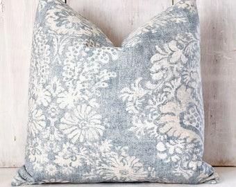Faded Denim Blue Damask Pillow Cover - Blue and Beige Damask - Blue Floral Pillow Cover - Blue and Tan Throw Pillow