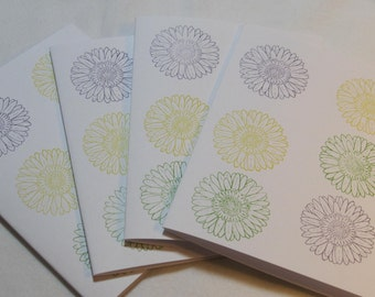 Stationary, Greeting Cards Set (4), Thank you Note, Flower Note Card, Blank Inside Note Card, Friendship Card, Thankyou's, Handmade C01