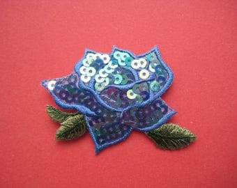 Iron-On Sequins Patch Blue Rose 2.5 inch