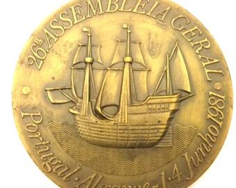 Medal Bronze 26 Assemblieia Geral Portugal Algarve 14 Junho 1981 Huge 169.00 Gr