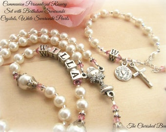 Communion Personalized Swarovski Crystal Birthstone and Pearl Rosary and Matching Rosary Bracelet Set