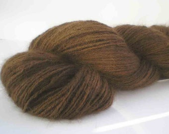 "318 Yds. Handspun &  Dyed Angora Rabbit Yarn  ""The Ultimate Chocolate Rabbit"""