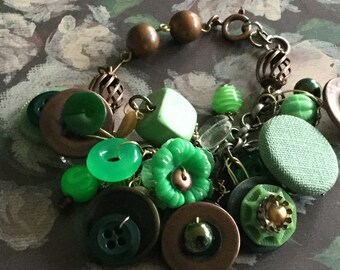 Vintage upcycled buttons copper assemblage bracelet ,mixed media bracelet, hippie chic jewelry