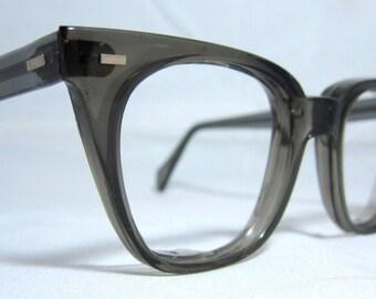 Vintage 60s EyeGlasses Frames. Mens Horn Rim Gray Safety Frames, NOS