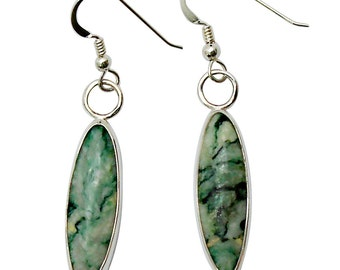 Mariposite Quartz and Sterling Silver Dangle Earrings (Emerald Quartz)  eeqd2731