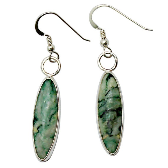Mariposite Quartz and Sterling Silver Dangle Earrings (Emerald Quartz)  eeqd2731