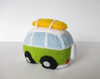 Surf's Up Camper Van toy knitting pattern