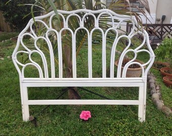RATTAN BAMBOO HEADBOARD 54 Inch Tall Ficks Reed Style Queen Headboard / 60 Inches at Base /Palm Beach Chic Cottage Style at Retro Daisy Girl