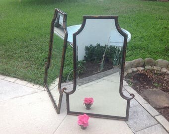 "FAUX BAMBOO PAGODA MIRROr 41"" Tall / One Metal Faux Bamboo Pagoda Mirror / 2 Available /Chinoiserie Hollywood Regency Style Retro Daisy Girl"