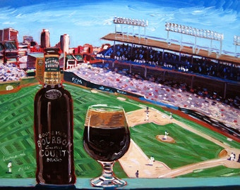 Bourbon County Brand Stout, Wrigley Field, Cubs Baseball, Goose Island, Baseball and Beer, Art for Men, Gift for Husband, Beer Bar Poster