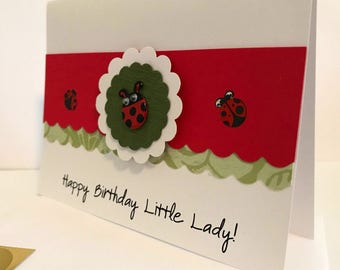 Ladybug Birthday Card, Happy Birthday Little Lady, birthday card with ladybugs, made on recycled paper,comes with envelope and seal