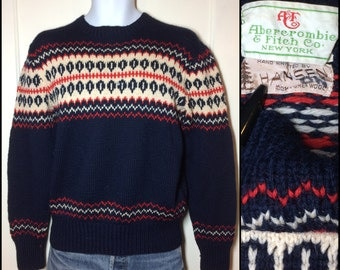 1940's Thick Hand Knitted by Hansen for Abercrombie and Fitch New York Pure Wool pullover Sweater looks size Medium Navy Blue Red White Ski