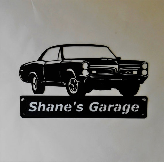 1967 Pontiac GTO Goat Personalized  Man Cave Metal Sign Garage Art Satin Black
