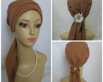 "Acorn Brown Scarf Turban Gauze Volumizer Chemo Headwear 16"" Ties, Cancer Patient Hat, Beach Hair Covering, Tichel & Mitpachat Head Wrap"