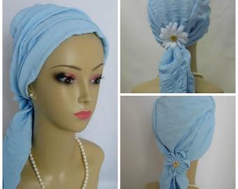 "Ultra ""Cool"" Baby Blue Summer Scarf Turban Volumizer Chemo Headwear, Cancer Patient Hat, Alopecia Head Cover, Tichel Hair Wrap, Beach Scarf"