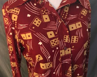 Vintage 1970s polyester domino print button down disco shirt