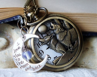Call of the Wild - Wolf Pair Steampunk Pocket Watch Necklace Mated for Life - Lobo - Lone Wolf - Wolf Pack - Feral Wolf - Mated Pair C 7-4