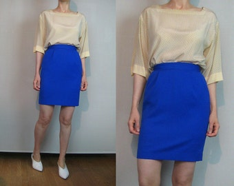 80s Cobalt WOOL Mini Pencil Skirt Vintage 1980s Blue Wool Mini Skirt Wool Pencil Skirt 80s Cobal Wool Wiggle Skirt xs Small Wool Mini Skirt