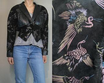 80s CRANE Print Cropped Suede + Leather Jacket Vintage Black Bird Print Novelty Suede Leather Jacket Black Mauve Metallic Gold Suede Jacket