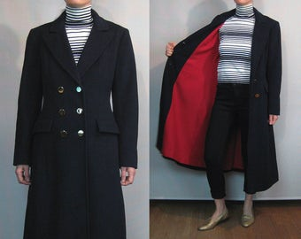 Nwot EVAN PICONE Midnight Blue Black Wool Double Breasted Military Pea Coat
