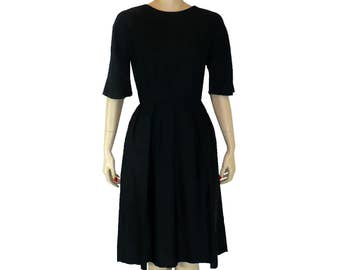 S Urban Sophisticate, Black Silk Sheath Cocktail Dress, Vintage 50s 1950s Dress, Small