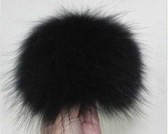 Genuine Raccoon Fur Detachable Extra Large Pom Pom Fur Ball for Hats Beanie Hats Scarves Fluffy Pompom