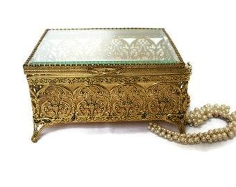 Large Vintage Beveled Glass and Gold Filigree Ormalu Jewelry Box Casket for Hollywood Regency Decor /  Storage for Antique Treasures