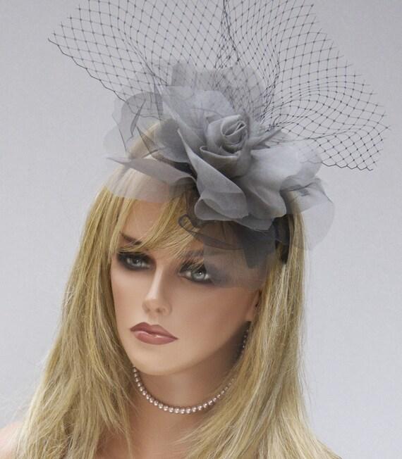 Fascinator, Ascot Hat, Derby Hat, Wedding Hat, Percher, Gray & Black Fascinator Formal Hat Unique Headpiece Elegant hat event hat Dressy hat