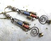 Spirals artisan dangle earrings boho red autumn Czech beads rustic wire work