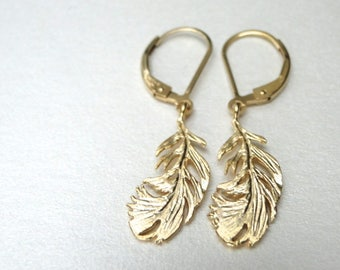 Earrings, 16k Gold Plated Dangle Leaf Earrings, Spring Collection Filigree Earrings, 14k Gold Filled Lever Backs, Accessories, Gift for Her