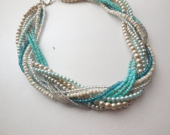 Aqua blue tan champagne silver pearl chunky braided twisted statement necklace