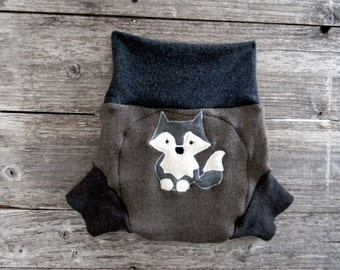 Upcycled Merino Wool Soaker Cover Diaper Cover With Added Doubler Brown / Charcoal Gray With A Wolf Applique LARGE 12-24M