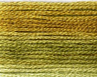 Cosmo, 6 Strand Cotton Floss, SE80-8018, Seasons Variegated Embroidery Thread, Greens/Golds, Wool Applique, Cross Stitch, Embroidery