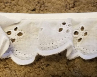 "Eyelet Fabric Sewing Lace trim white 1 1/2"" ruffled for baby clothes, blankets and accessories 14 yards wholesale"