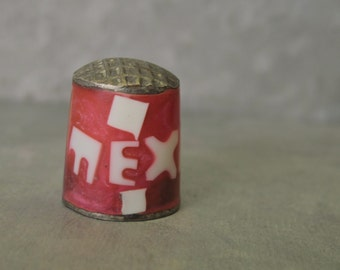 Vintage Mexico Thimble Vintage Thimble Red Enamel & Mother-of-Pearl w/ Rustic Metal Handmade Mexican Souvenir Collectible Thimble