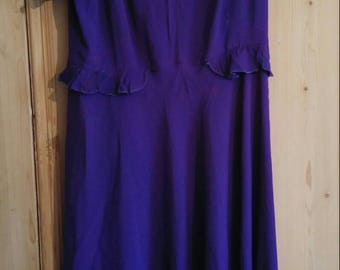 1940s indigo rayon dress with bird buttons - maternity? - as is