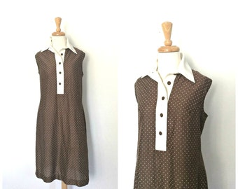 Vintage 1970s Dress - cotton sundress - brown shift dress - Queen's Way to Vashion -  sleeveless - pullover - L