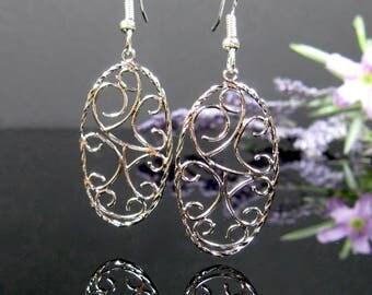Silver gothic earrings, surgical steel nickel free earrings, silver dangle earrings, filigree scroll earrings, everyday simple earrings,