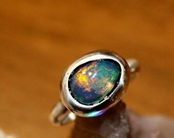 Sterling Silver Opal Ring, Silver Ring, Opal Stone, Rough Opal, Birthstone, Gem Stone, Raw Opal