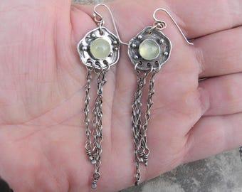 Sterling Silver and Prehinite Dangle Earrings