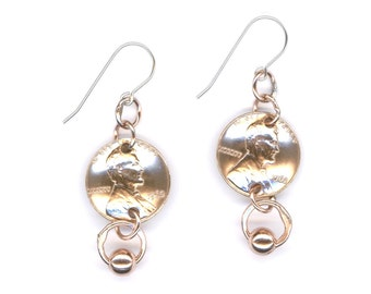 55th Birthday Gift 1962 Penny Earrings Copper Beaded Dangle 1962 Penny Coin Earrings