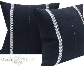 Black and White Wool Pillow Covers - Set of TWO - Pendleton Wool - Euro Shams - 24x24 - ready to ship