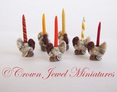 EXCLUSIVE! One 1:12 Holiday Turkey Candle Holder by IGMA Artisan Robin Brady-Boxwell - Crown Jewel Miniatures