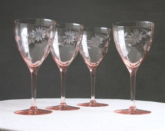SALE - Set of Four Pink Depression Glass Goblets - Wheel Cut Etched Flower Decoration  - Blush Rose Pastel Wine Water Glasses 1930s