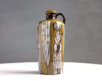 Vintage Swiss Pottery Vase - Ceramic Jug Bottle - Music Figural Folk Quaint Neutral Earth Tone Brown Glaze - Luzerne Handgemalt EM 1960s