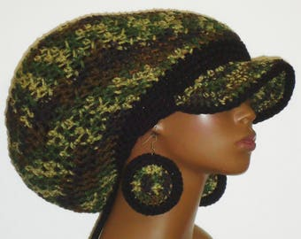 Black Trim Camouflage Crochet Large Brimmed Cap Hat with Drawstring and Earrings by Razonda Lee Razondalee
