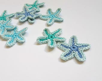 Blue Starfish applique - crochet sea stars applique - Beach wedding decorations - sea stars decorations - mint blue wedding decor - set of 9