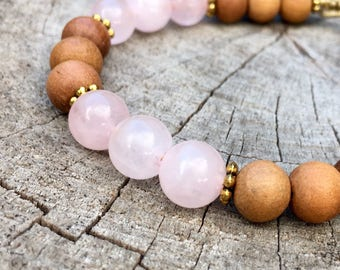 BLISS- Rose Quartz and Sandalwood Wrist Mala Bracelet.