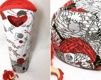 Wine Bag Sheep Knitting Wine Gift Bag Valentine Gift Gift for her